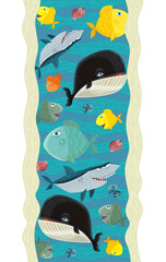 Cartoon scene with different fishes - illustration for children