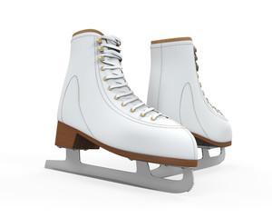 White Figure Skates Isolated