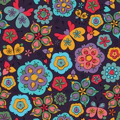 Seamless floral cartoon pattern with butterflies