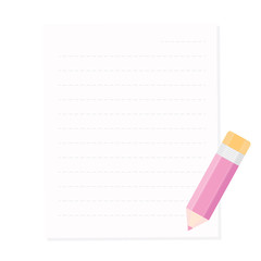 Pencil and pink paper, ready for your message. Vector