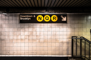 New York City subway with sign