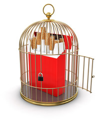 Gold Cage with Cigarette Pack (clipping path included)