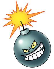 Cartoon bomb with evil face