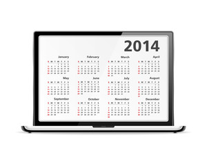 2014 Calendar in Laptop