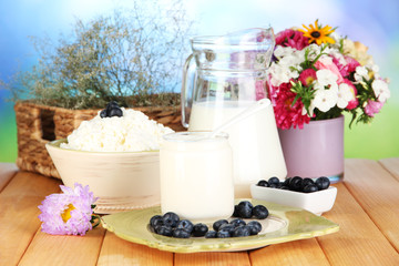 Fresh dairy products with blueberry on wooden table close-up