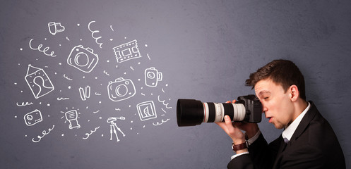Young photographer shooting photography icons