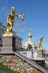 Grand cascade fountains at Peterhof Palace in Saint Petersburg
