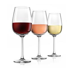 3 Weingläser Rot Rosé Weiss