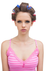 Young model with hair curlers