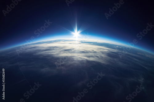 Fototapete Near Space photography - 20km above ground / real photo