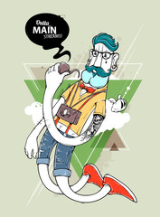 Hipster graffiti character
