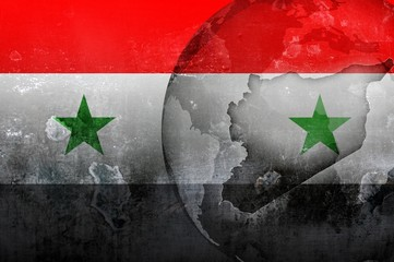 Syria flag and world map conflict illustration