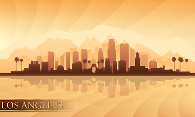Los Angeles city skyline detailed silhouette Fototapete