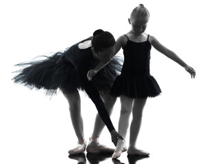 Wall Mural - woman and little girl  ballerina ballet dancer dancing silhouett