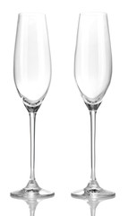 Champagne glasses, isolated on white