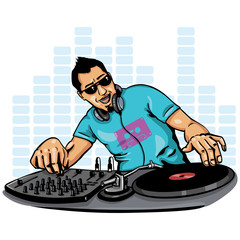 vector color illustration - DJ