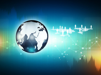 Wall Mural - Globe on digital technology background