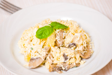 salad with chicken breast, mushrooms, pineapple, cheese, egg
