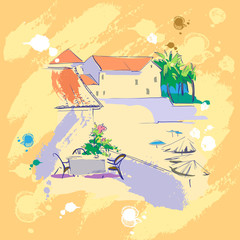 Rest. vector landscape of the southern city
