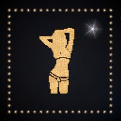 Illustration of a glowing tips symbol glittering golden
