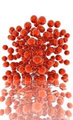 explosion de billes rouges