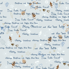 Christmas pattern. Letter to Santa Claus
