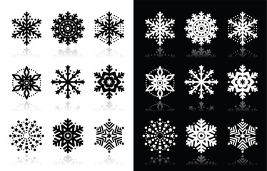 Christmas or winter Snowflakes vector icons