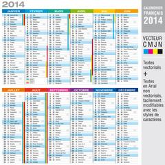 Calendrier 2014 - CMJN - Textes vectorisés et textes éditables