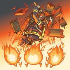Firefighter attacks cartoon flames with an axe vector illustrati