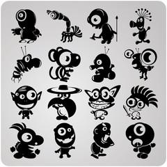 16 vector contour aliens