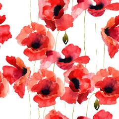 Illustration de fleurs de pavot stylisé