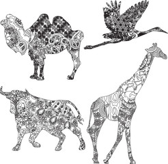 set of animals in the ethnic ornament