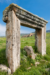 Ancient gate of Hierapolis in Pamukkale, Turkey