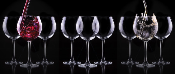 Elegant wine glass in black background