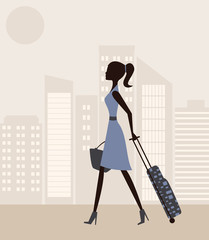 Woman with suitcase.Vector