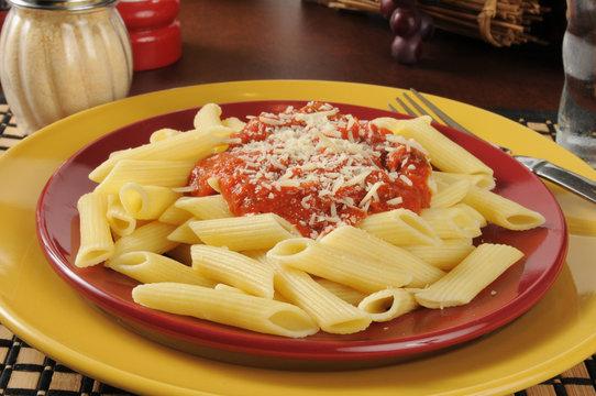 Penne rigate with marinara sauce