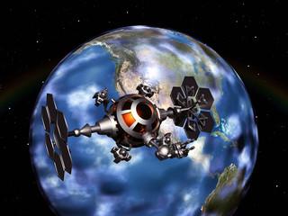 Eine Raumsonde im Weltall