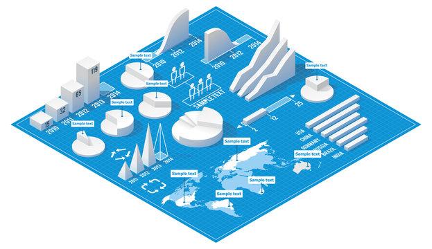Vector isometric infographic elements