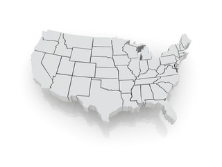 Three-dimensional map of USA.