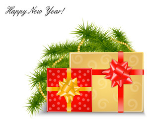 Christmas background with gifts and fir branches