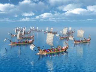 Alte römische Kriegsschiffe