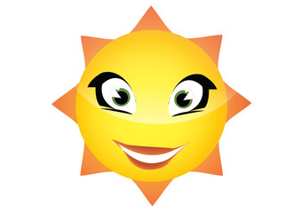 Vector cartoon illustration of a hot smiling summer sun