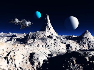 Eine ferne Welt mit einem Raumschiff