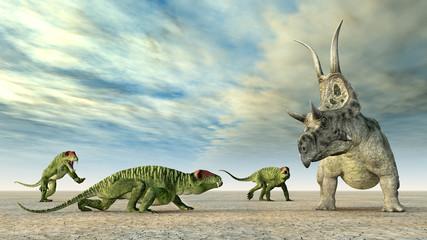 Die Dinosaurier Doliosauriscus und Diabloceratops