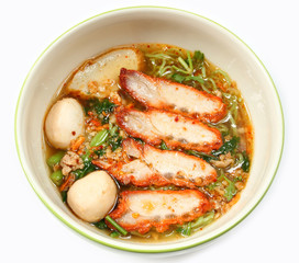 Noodle and roasted red pork.