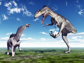 Die Dinosaurier Amargasaurus und Megalosaurus