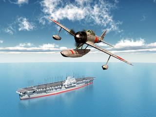 Japanischer Jagdbomber und japanischer Flugzeugträger