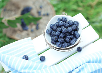 Blueberries in plates near napkin