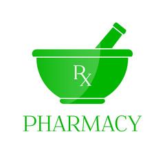 Pharmacy symbol - mortar in green color