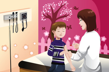 Kid getting a flu shot by a doctor in the arm